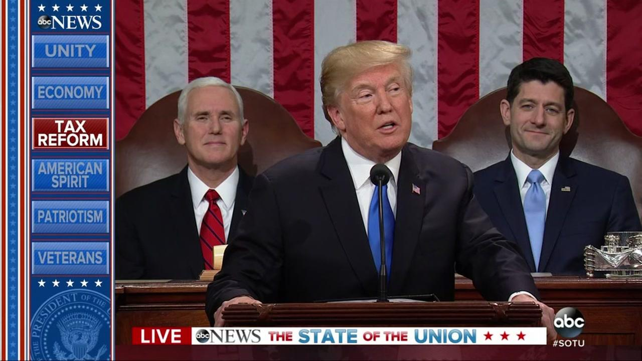 President Donald Trump delivered his first State of the Union address to Congress Tuesday night.
