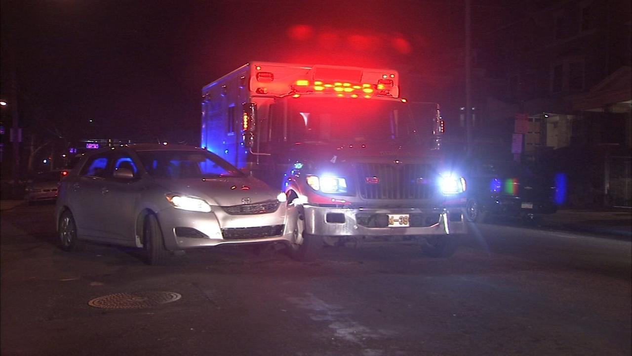 Ambulance involved in crash in North Philadelphia