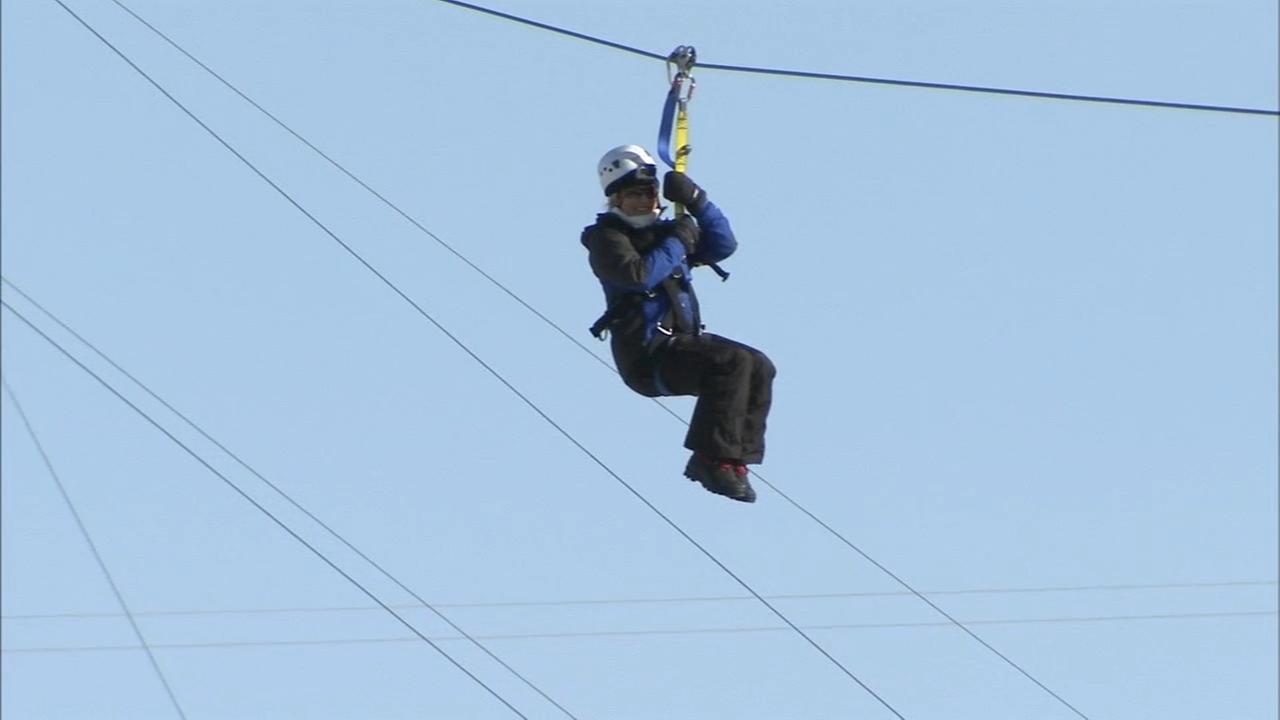 VIDEO: Sarah Bloomquist flying high on zip line in Minneapolis