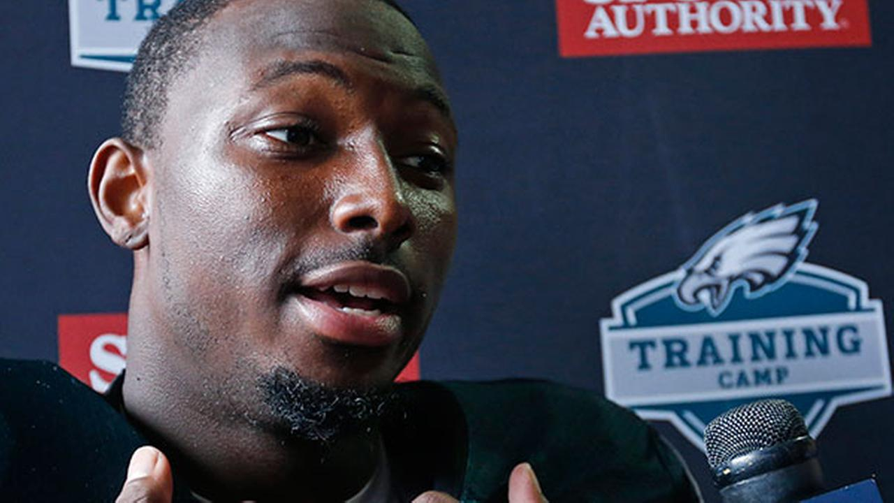 Philadelphia Eagles running back LeSean McCoy speaks during an interview after a joint NFL football training camp practice with the New England Patriots.
