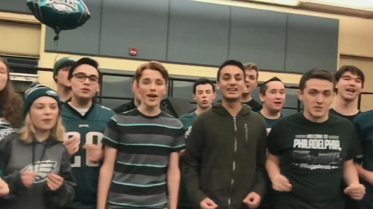 Council Rock students sing Eagles Fight Song