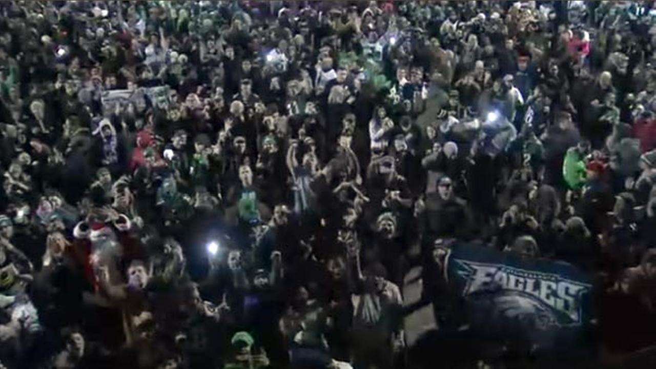 Eagles fans celebrate at Frankford and Cottman in the Mayfair section of Philadelphia on Sunday, September 4, 2018.