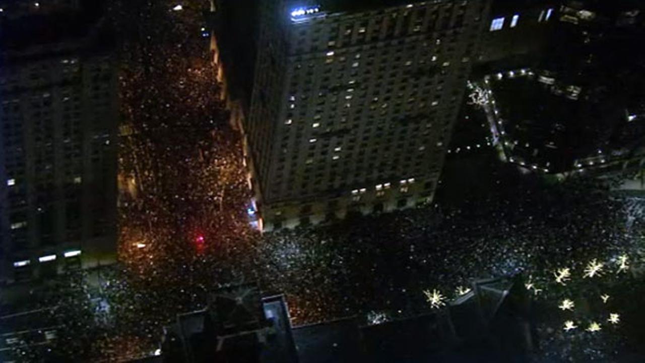 Chopper 6 was overhead as Eagles fans celebrated in Center City Philadelphia on Sunday, September 4, 2018.