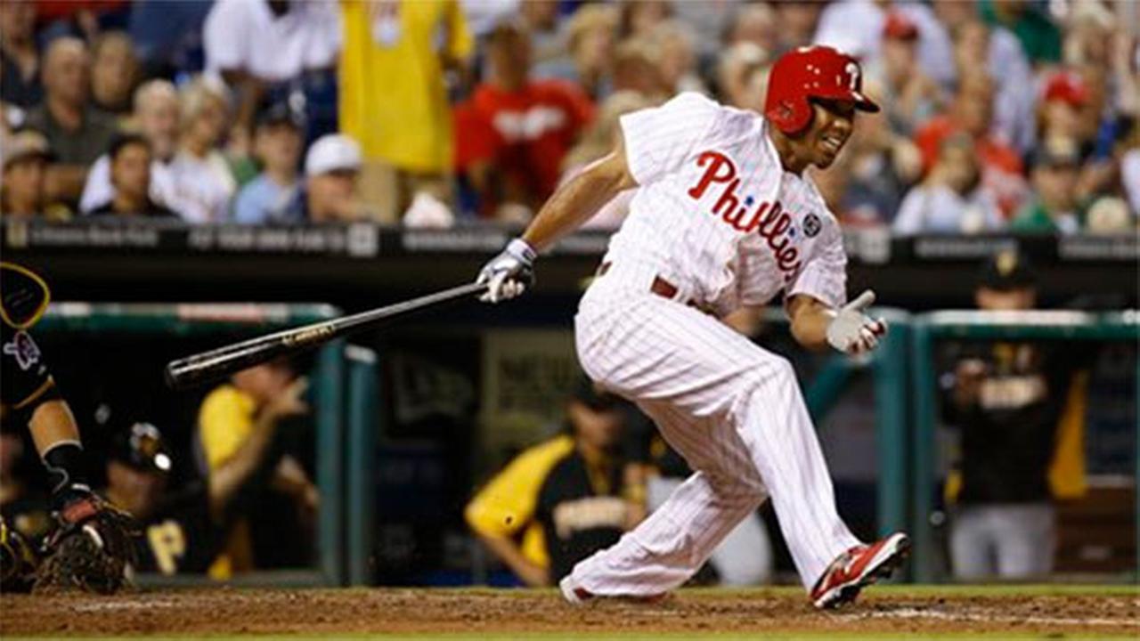 Philadelphia Phillies Ben Revere bats during a baseball game against the Pittsburgh Pirates, Wednesday, Sept. 10, 2014, in Philadelphia.