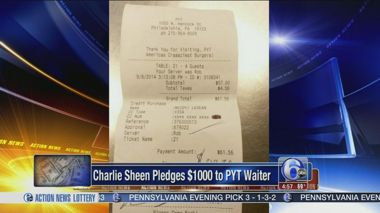 VIDEO: Charlie Sheen pledges $1000 to PYT waiter