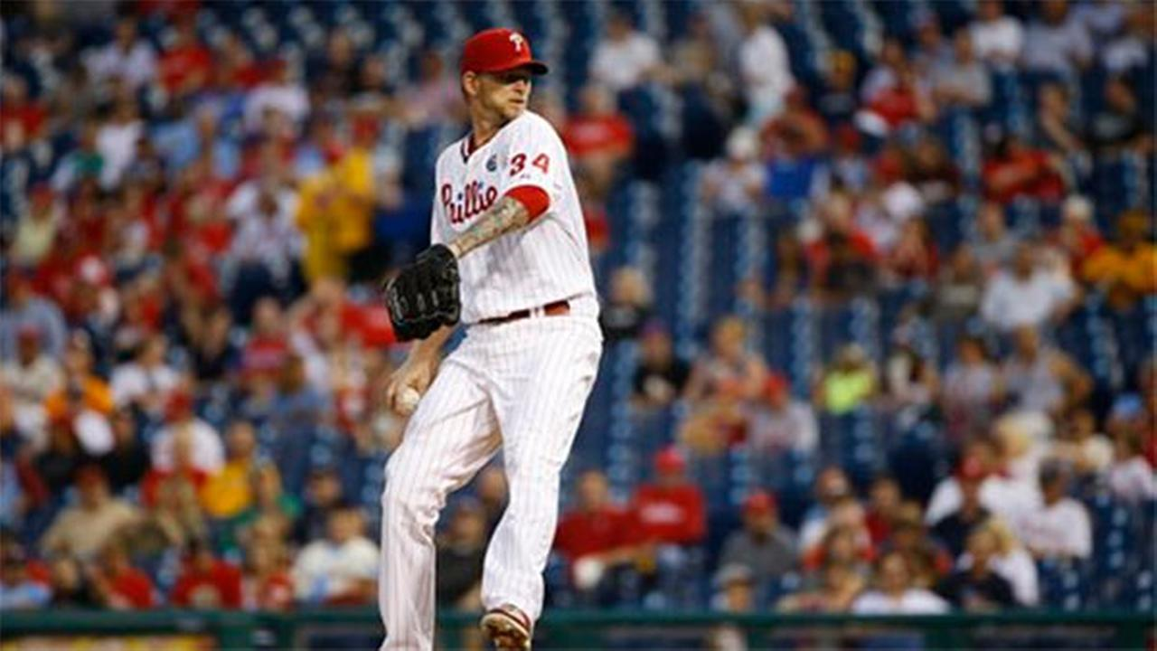 Philadelphia Phillies A.J. Burnett pitches during a baseball game against the Pittsburgh Pirates, Thursday, Sept. 11, 2014, in Philadelphia.