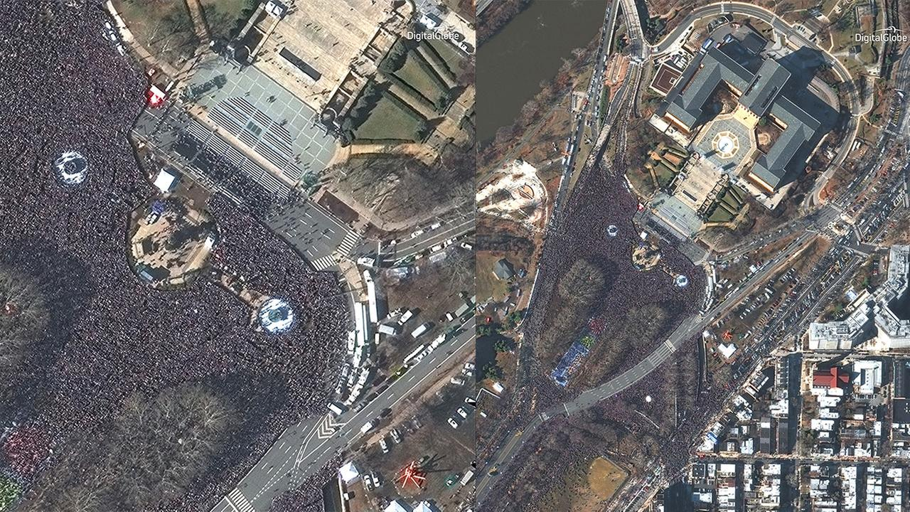 Satellite images from DigitalGlobe shows the massive crowds gathered at the Art Museum for the Eagles Super Bowl celebration.