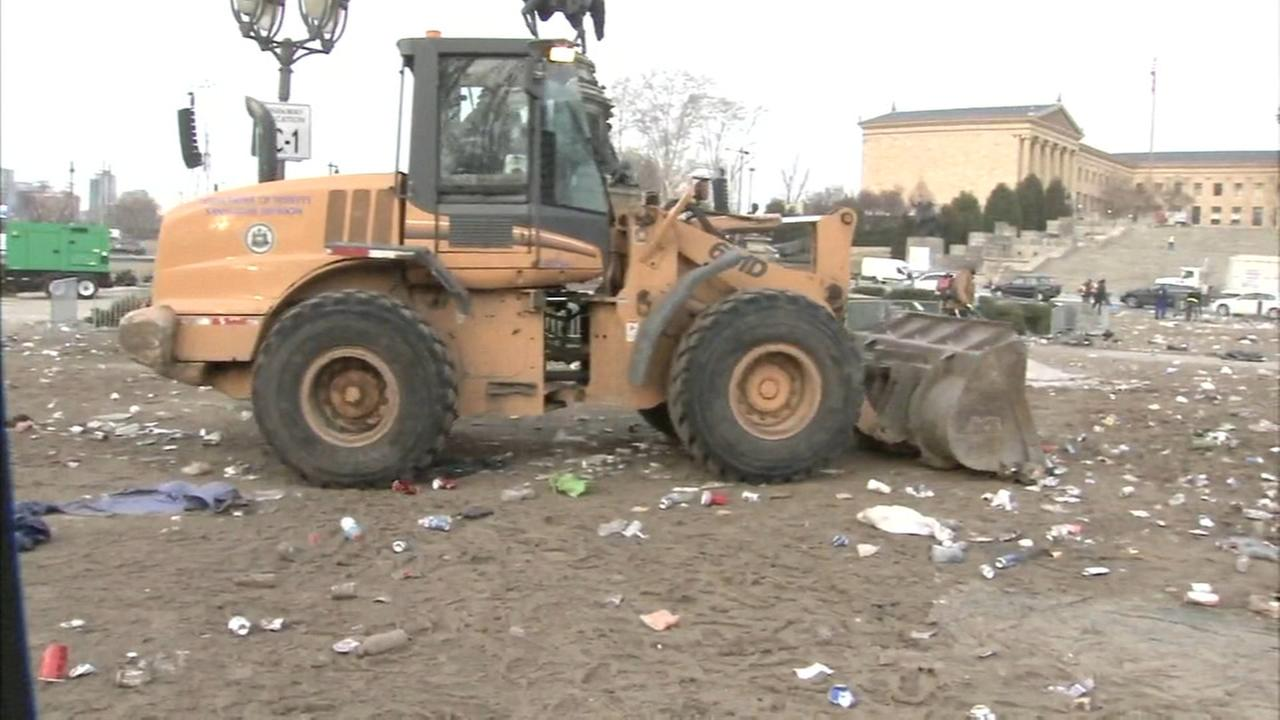 Massive cleanup effort after Eagles parade