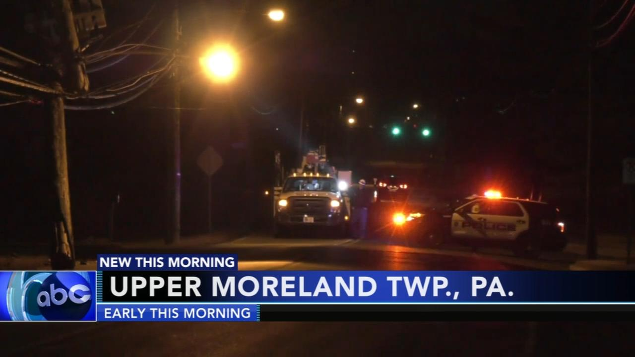 Police block roads after car takes out utility pole in Upper Moreland