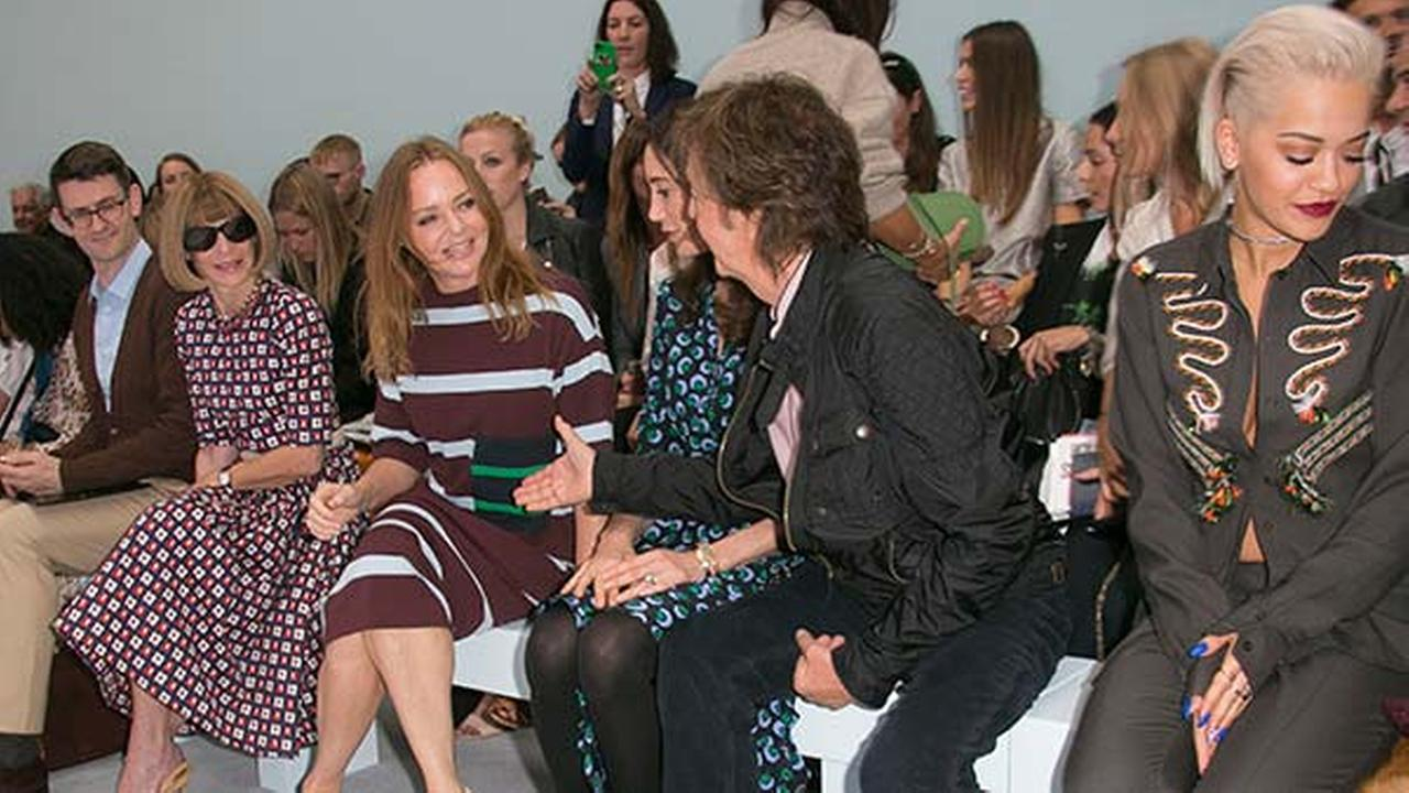 Paul, Stella McCartney front row at Hunters show