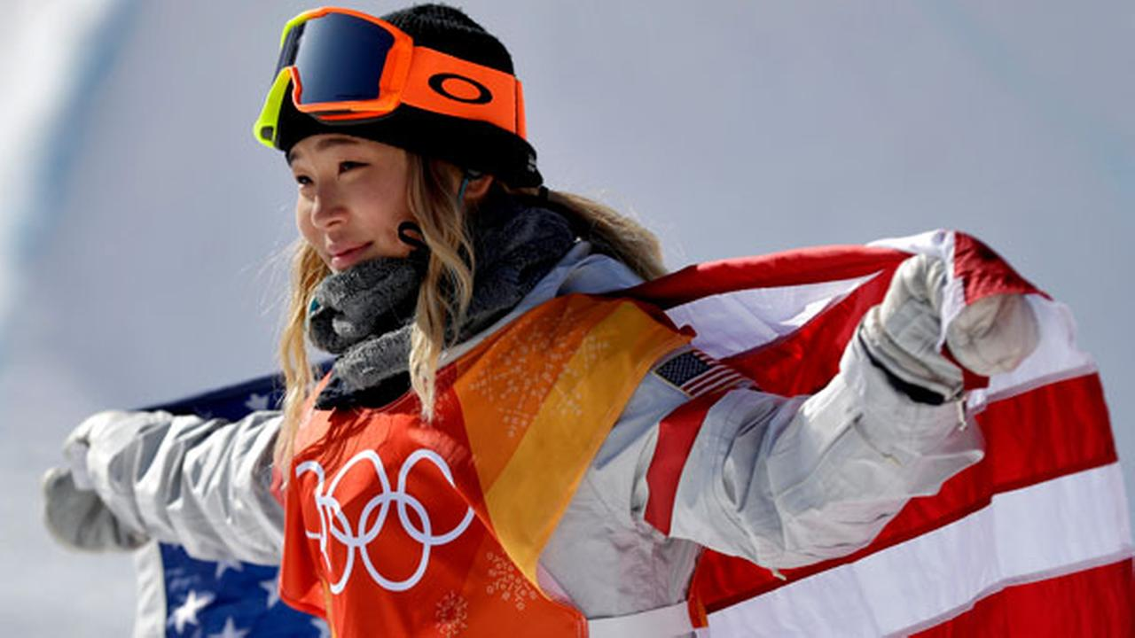 Chloe Kim, of the United States, celebrates winning gold after the womens halfpipe finals at Phoenix Snow Park at the 2018 Winter Olympics in Pyeongchang, Feb. 13, 2018.