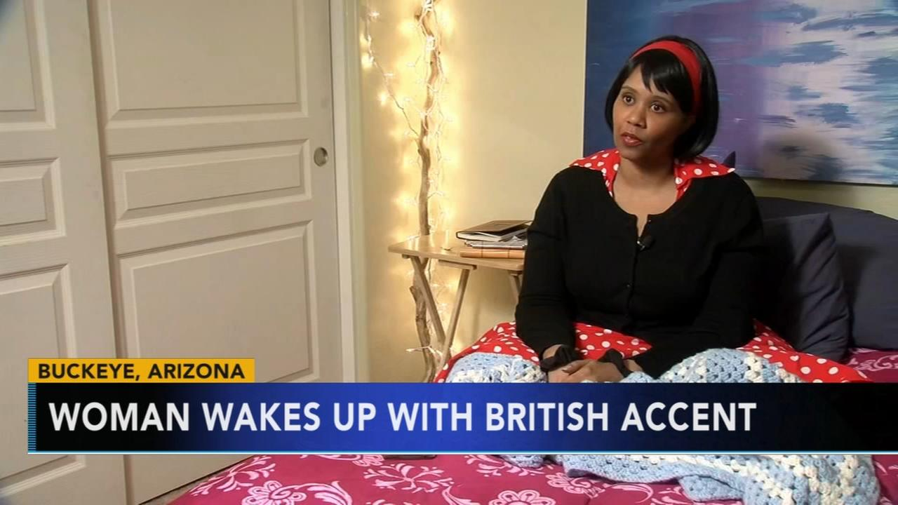 American woman wakes up with British accent