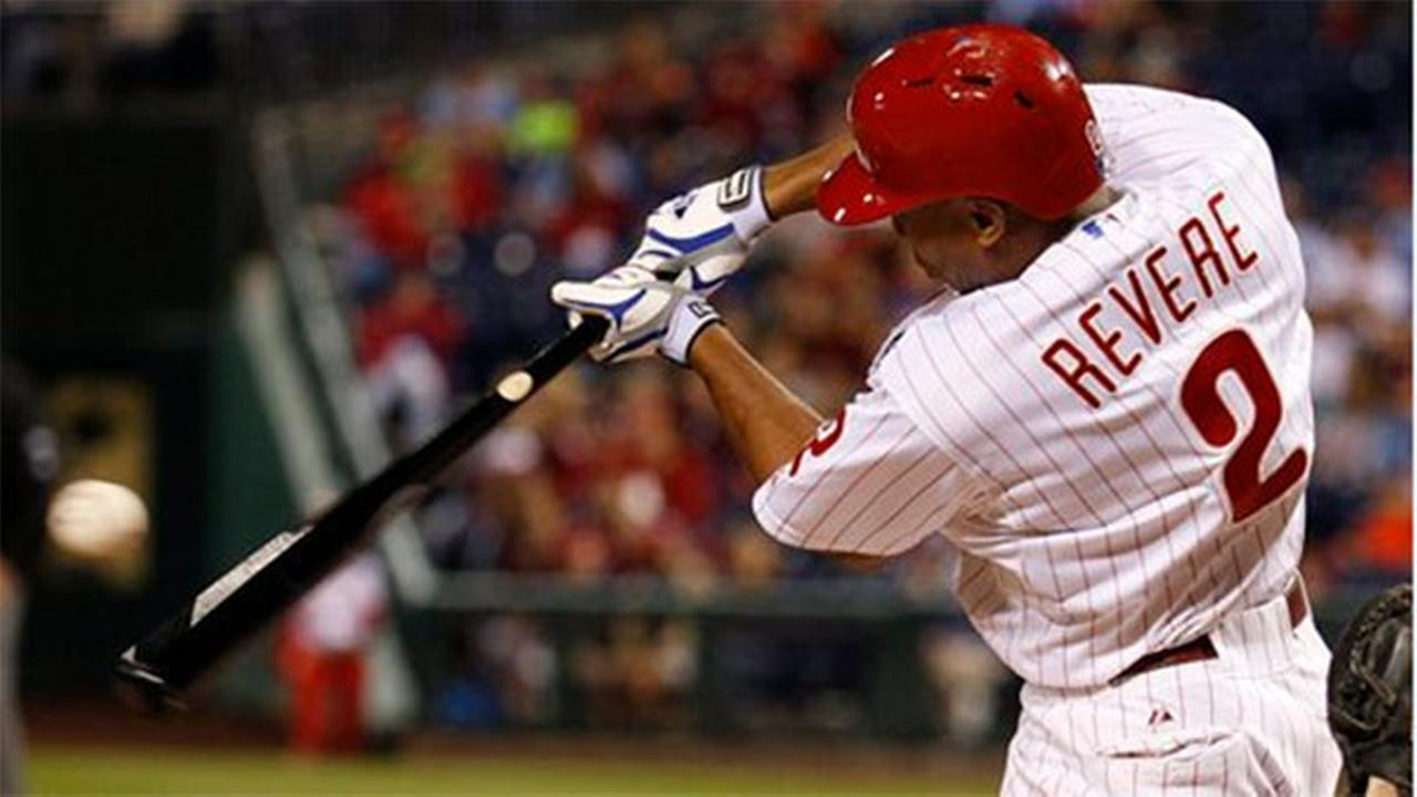 Philadelphia Phillies Ben Revere at bat during the third inning of a baseball game against the Miami Marlins, Saturday, Sept. 13, 2014, in Philadelphia.