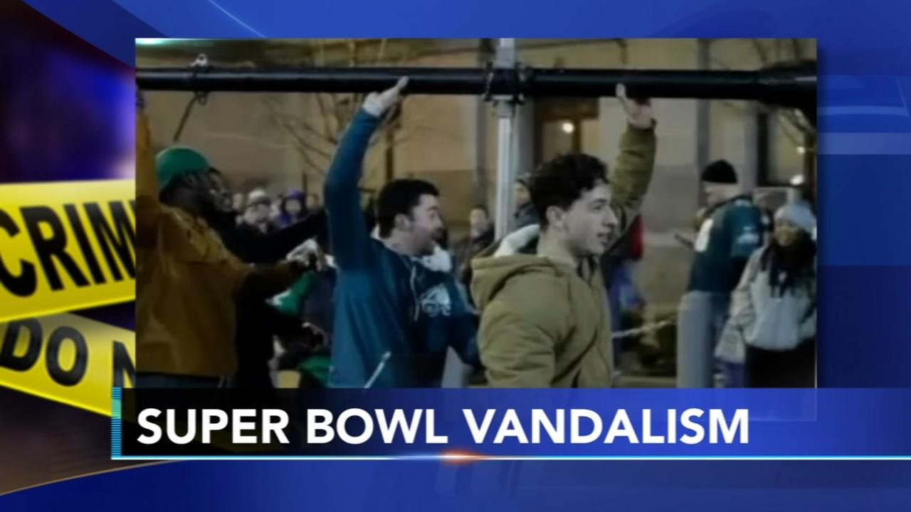 Police release video pictures of Super Bowl vandals
