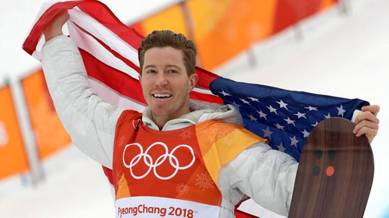 Gold medal winner Shaun White, of the United States, celebrates after the mens halfpipe finals at Phoenix Snow Park at the 2018 Winter Olympics in Pyeongchang, Feb. 14, 2018.
