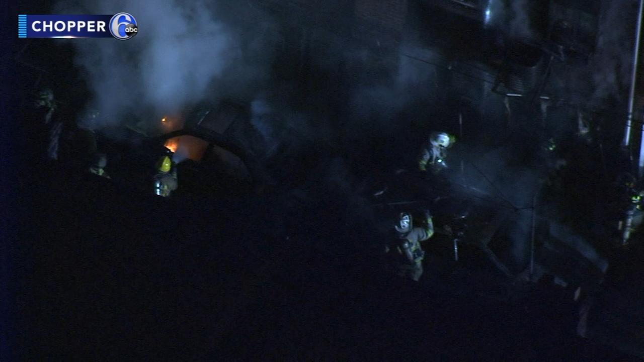 Firefighters battle fire in Darby, Pa.