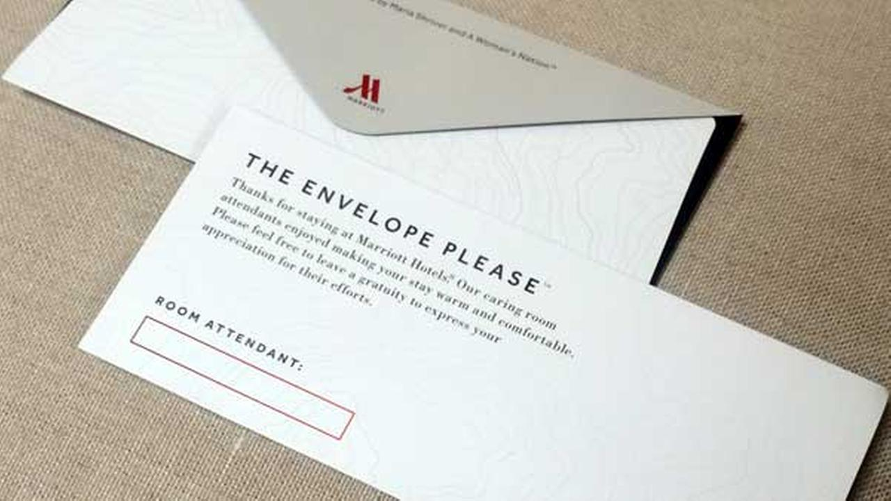 This photo provided by A Womans Nation shows an envelope that Marriott will be placing in 160,000 hotel rooms in the U.S. and Canada beginning this week.