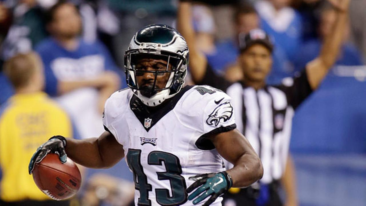 Philadelphia Eagles Darren Sproles (43) reacts after scoring on a 19-yard touchdown run during the second half of an NFL football game against the Indianapolis Colts.
