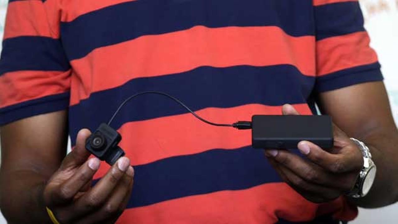 A body camera that would be worn by police is displayed during a news conference by New York City Public Advocate Letitia James, not shown, Thursday, Aug. 21, 2014.