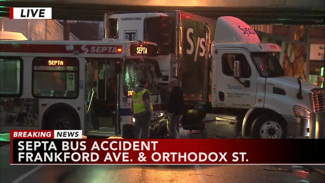 SEPTA bus and tractor-trailer collide