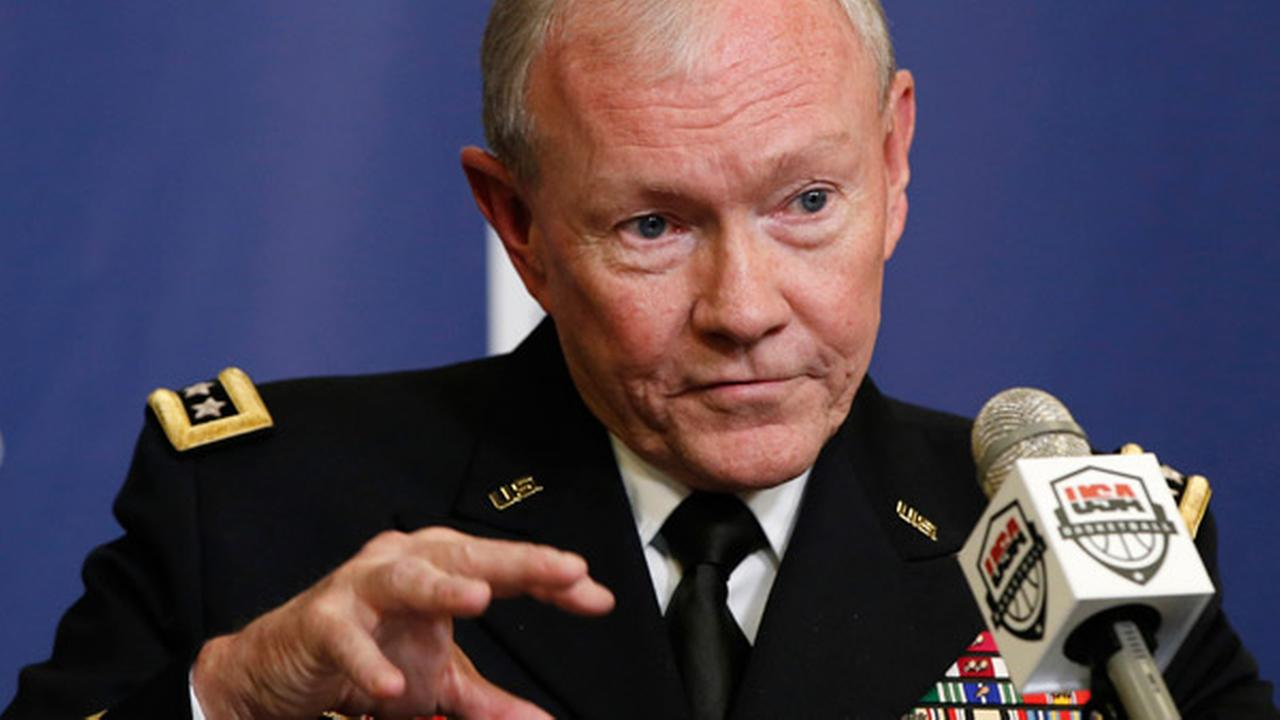 Gen. Martin Dempsey, chairman of the Joint Chiefs of Staff, speaks about Commitment to Service during a news conference at Madison Square Garden in New York, Wed. Aug. 20, 2014.