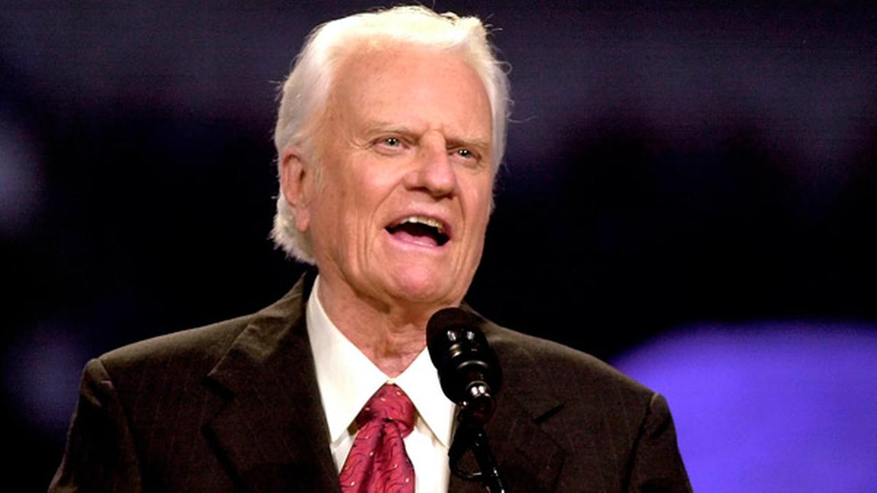 FILE: The Rev. Billy Graham speaks during the Mission Metroplex at Texas Stadium in Irving, Texas, Thursday, Oct. 17, 2002.