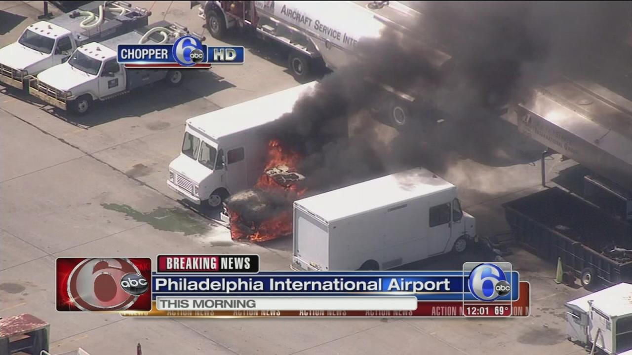 VIDEO: Vehicle catches fire at Phila. airport