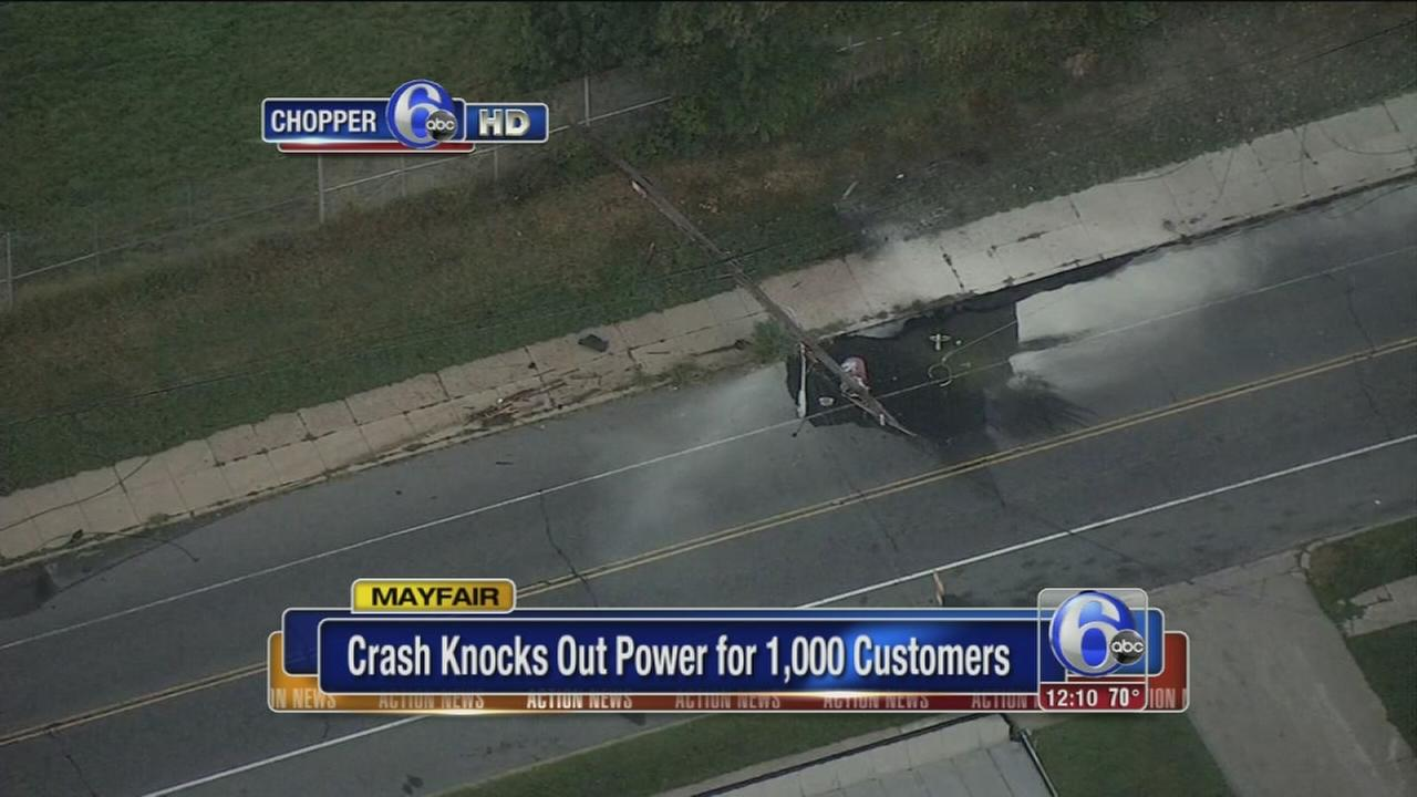 VIDEO: Crash knocks out power in Mayfair