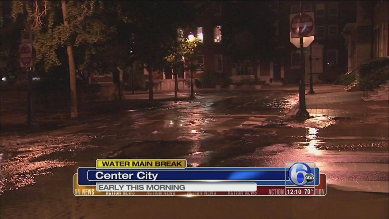 VIDEO: Water main break buckles road in Center City