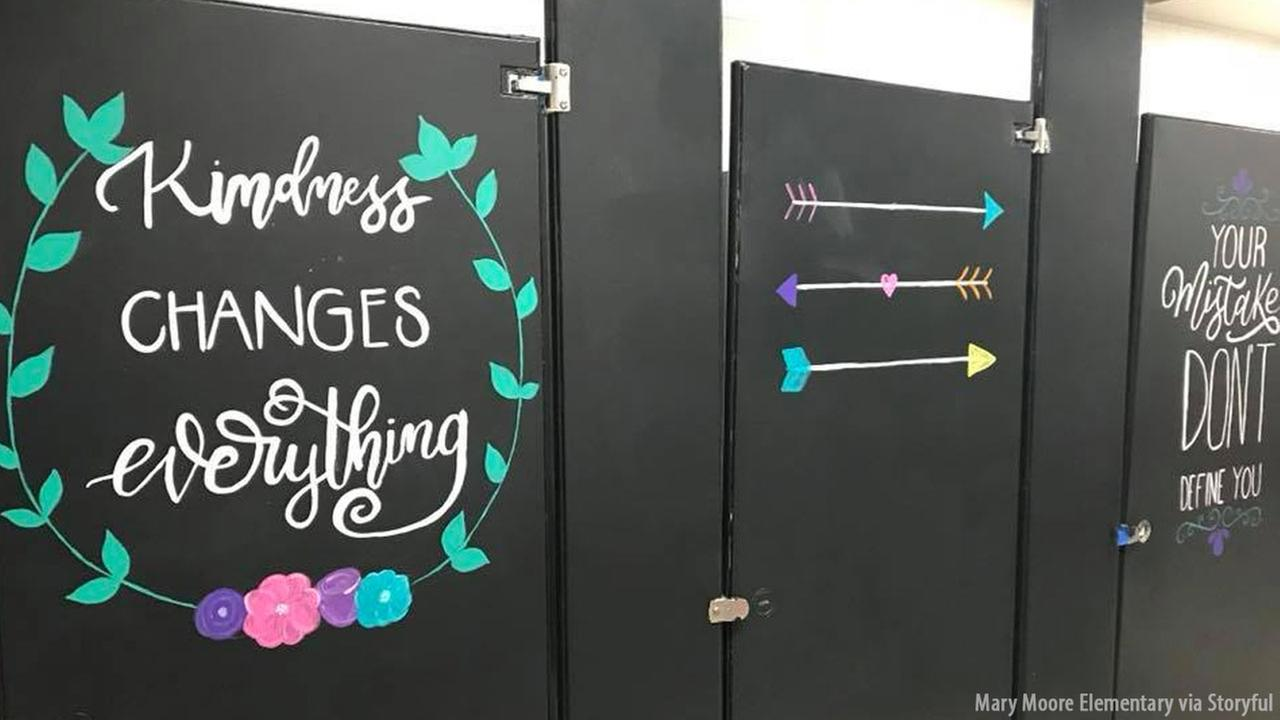 The parents of fifth-grade students at Mary Moore Elementary school in Arlington, Texas, painted bathroom stalls with uplifting messages and inspirational quotes.