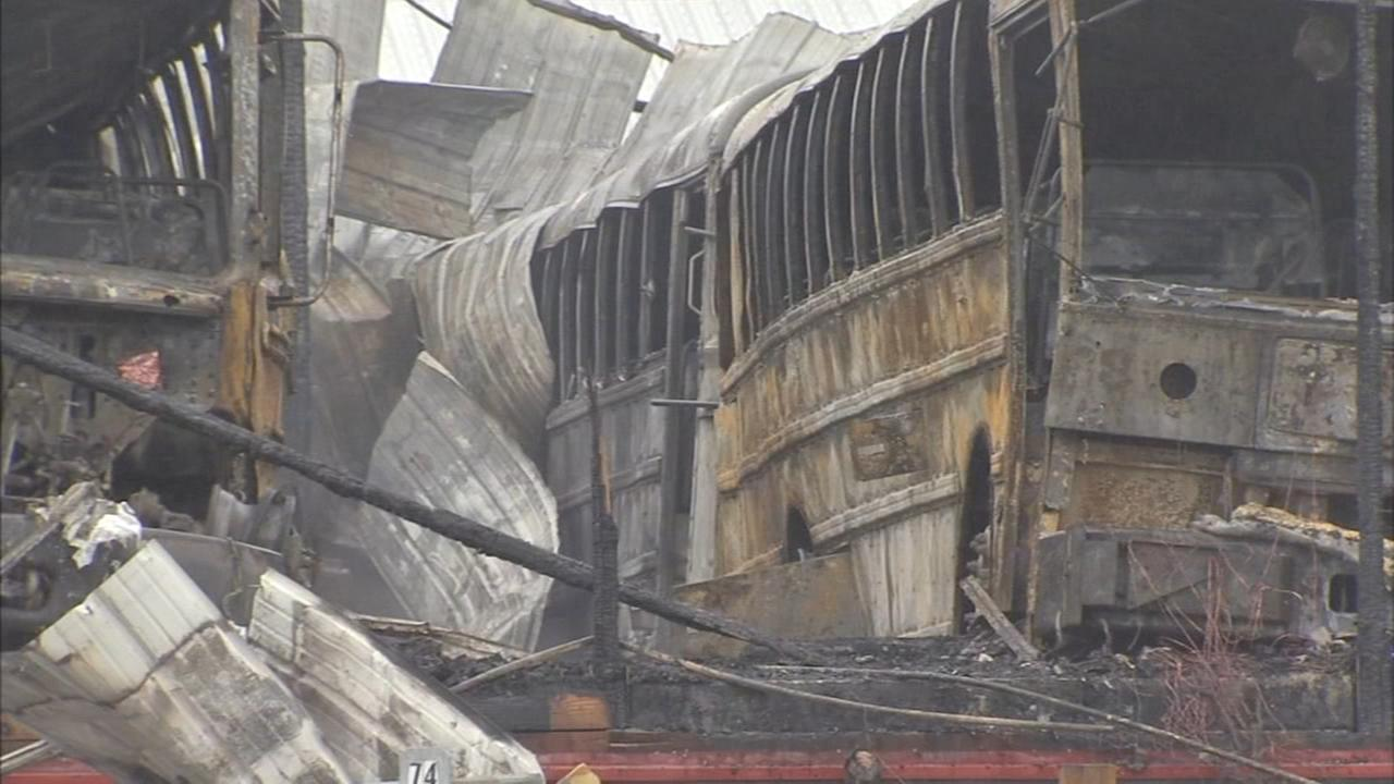 School buses damaged, destroyed by fire
