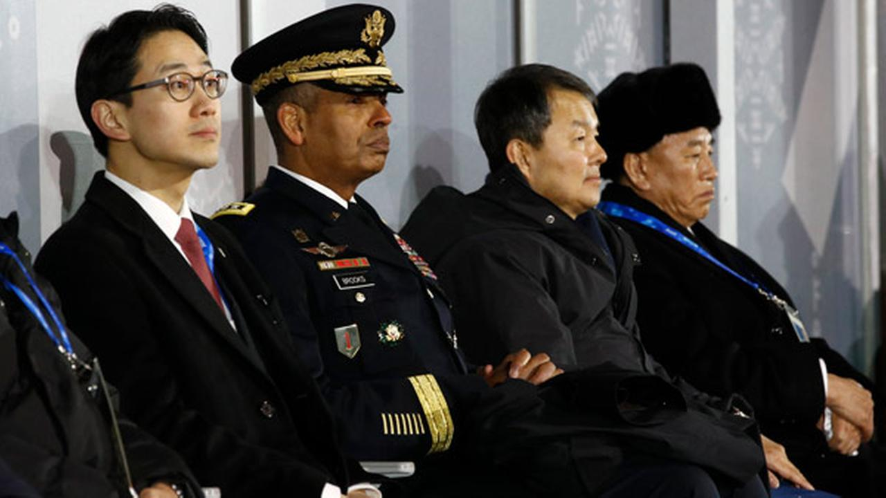 U.S. Gen. Vincent K. Brooks, second from left, commander of the UN Command.  Seated at far right is Kim Yong Chol, vice chairman of N Koreas Workers Party Central Committee.