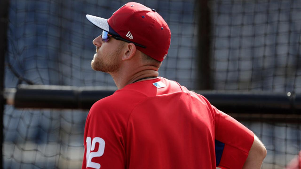 Philadelphia Phillies Will Middlebrooks waits to hit during batting practice before a spring exhibition game against the Baltimore Orioles, Feb. 24, 2018, in Clearwater, Fla.
