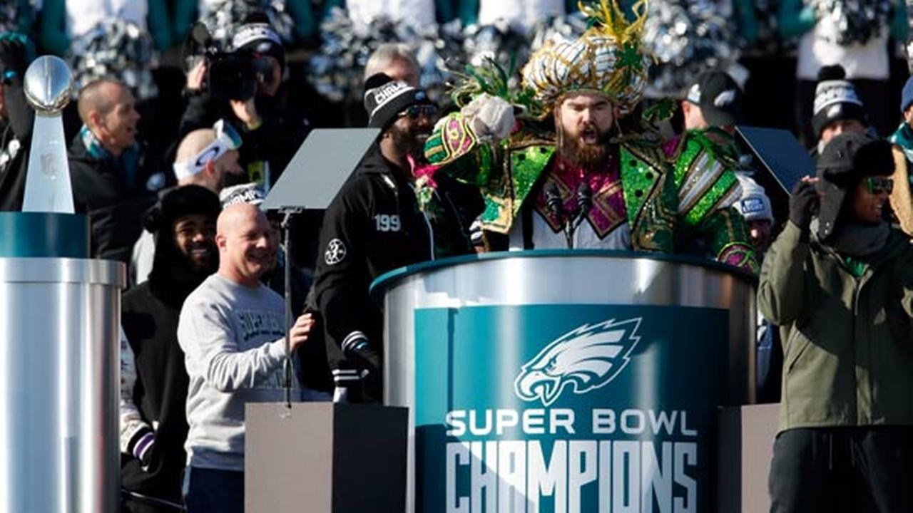 Philadelphia Eagles center Jason Kelce speaks in front of the Philadelphia Museum of Art after a Super Bowl victory parade.