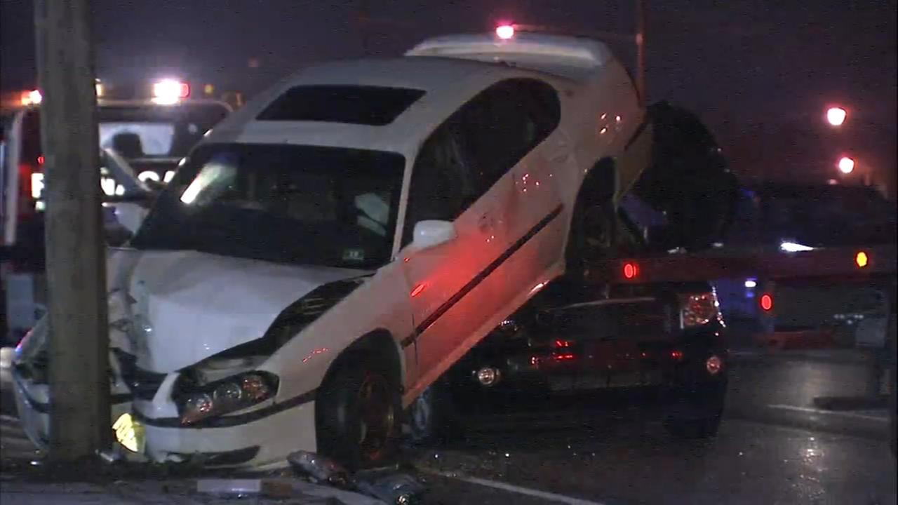 Car lands on SUV following crash