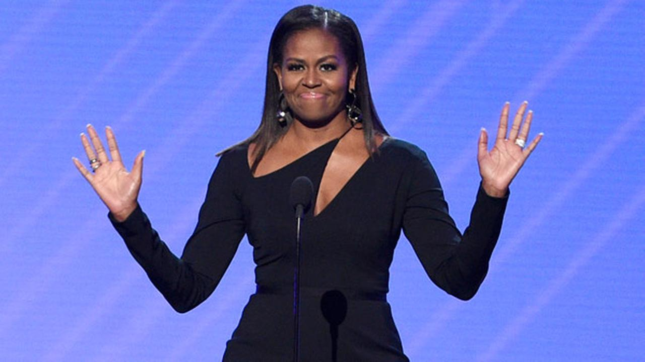 Former first lady Michelle Obama presents the Arthur Ashe Courage Award at the ESPYS at the Microsoft Theater on Wednesday, July 12, 2017, in Los Angeles.