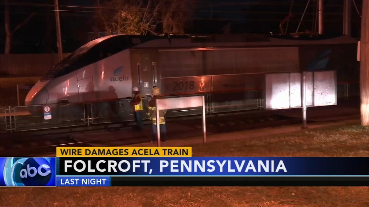 Wire damages Acela Train in Folcroft