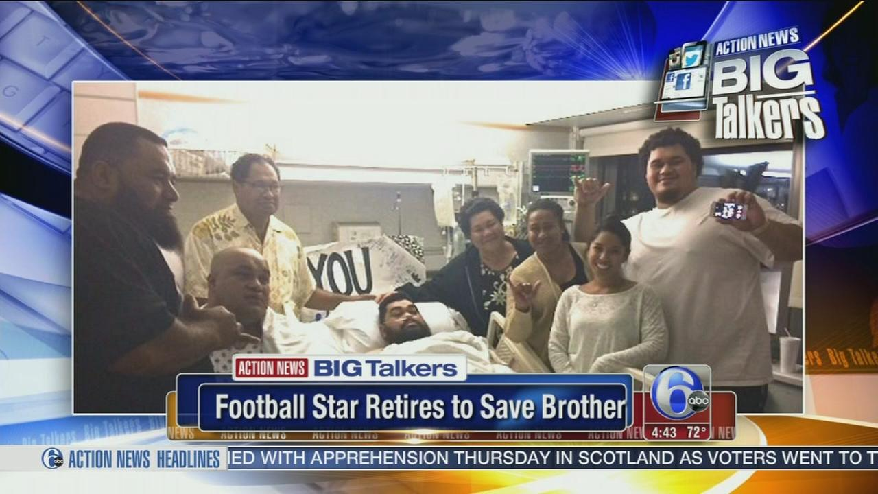 VIDEO: Football player retires to save brother