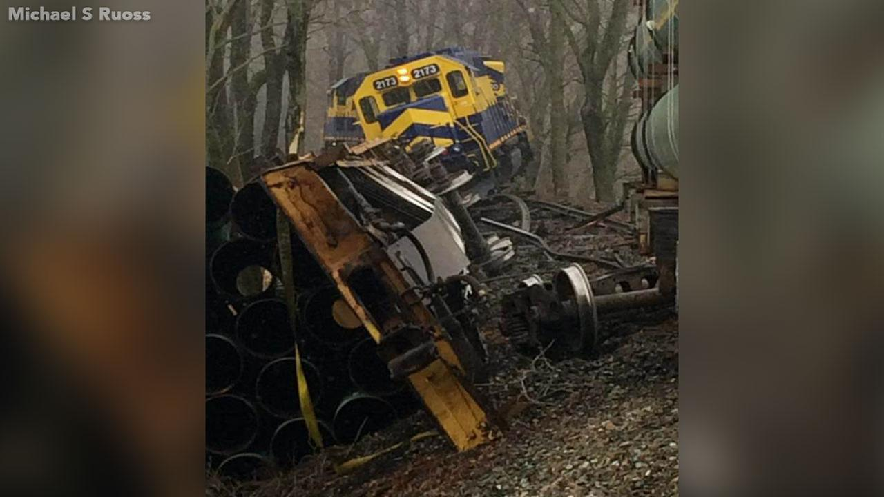 Crews are still working to clear the scene after a freight train derailed Saturday morning in Oxford, Chester County.