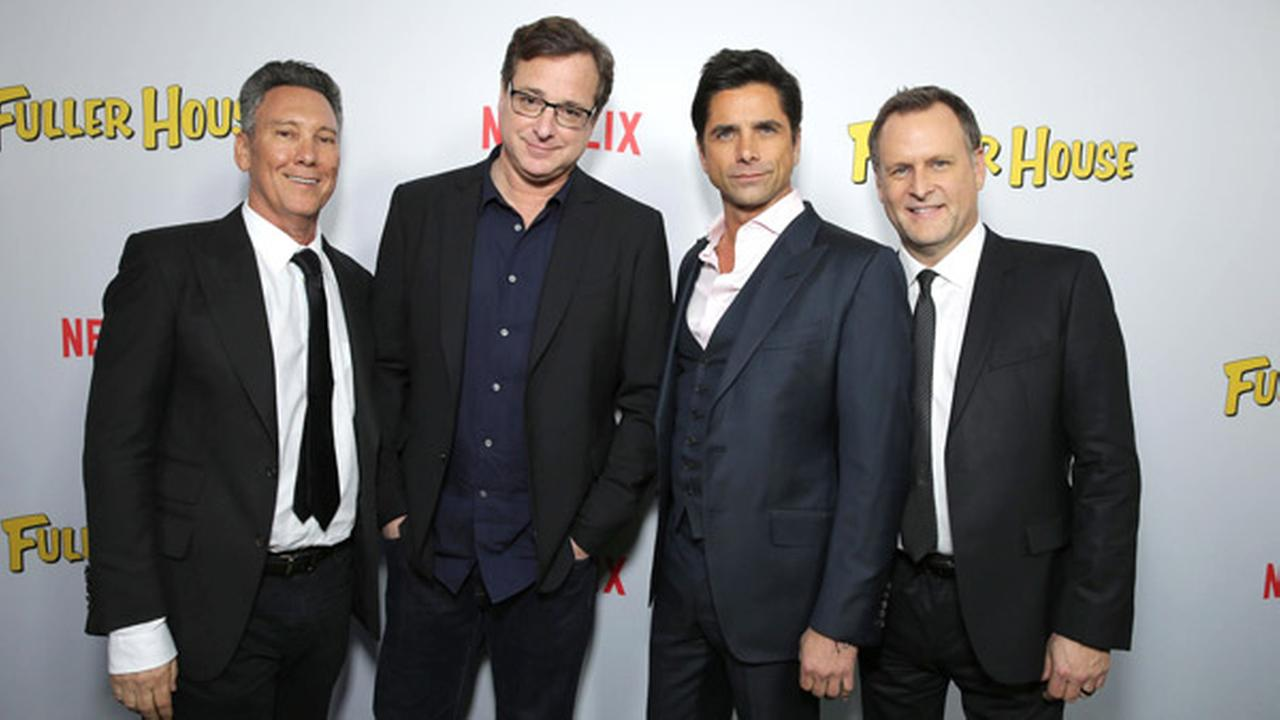 Exec. Producer Jeff Franklin, Bob Saget, John Stamos and Dave Coulier seen at Netflix Premiere of Fuller House at The Grove - Pacific Theatres on Feb. 16, 2016, in Los Angeles.