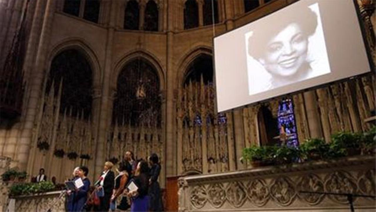 A medley of poetry and prose written by Ruby Dee is read during a memorial service for the actress at The Riverside Church, Saturday, Sept. 20, 2014 in New York.