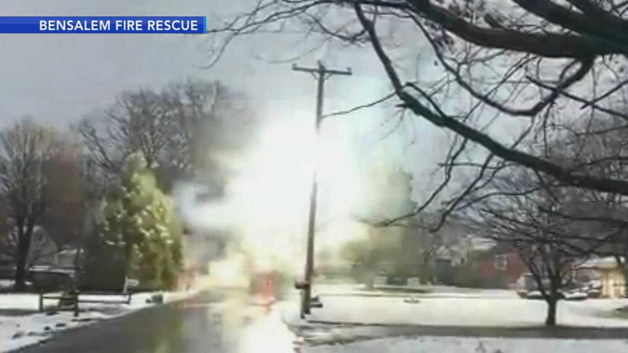 Downed power lines spark in Bensalem, Bucks County