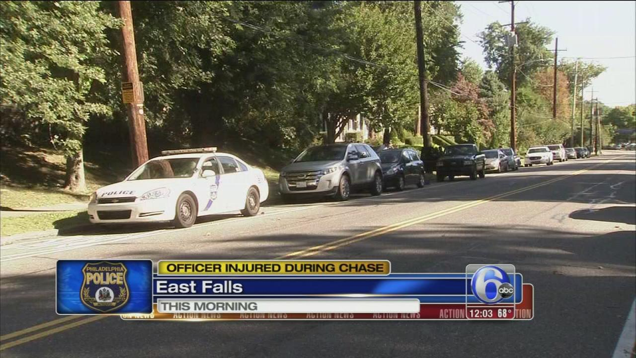 VIDEO: Phila. officer injured in pursuit