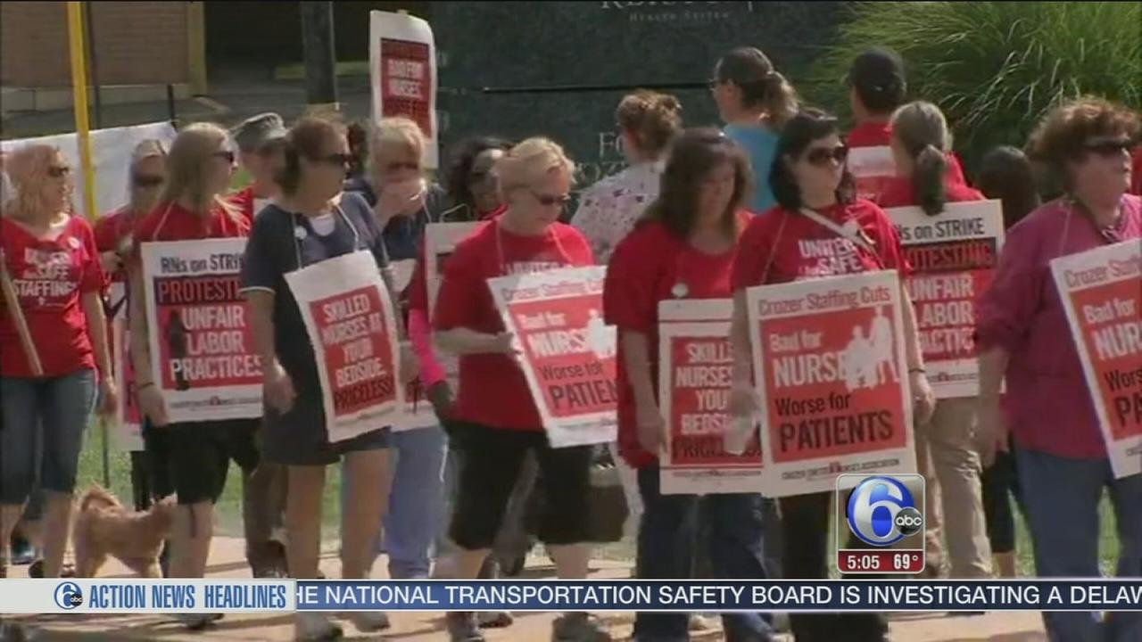 VIDEO: Nurses picket outside Crozer-Chester Hospital