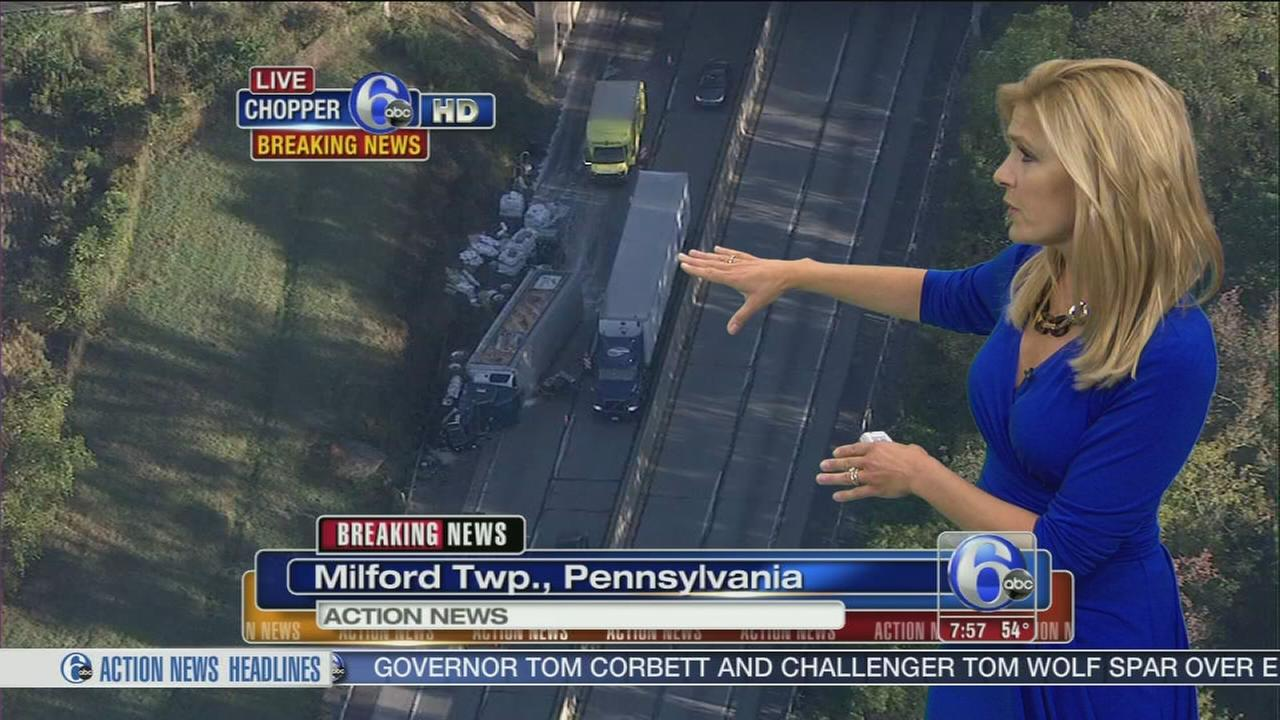 VIDEO: Overturned tractor trailer slows traffic on I-476