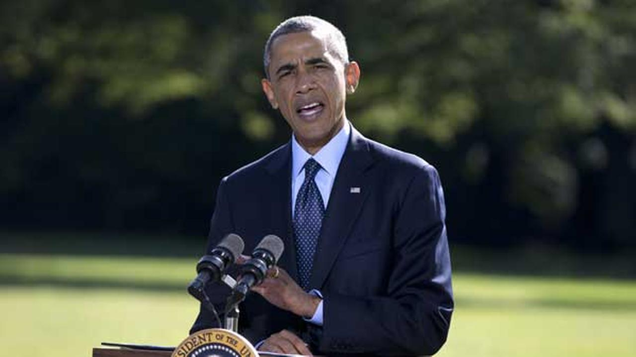 President Barack Obama speaks about the participation of five Arab nations in airstrikes against militants in Syria., Tuesday, Sept. 23, 2014, on the South Lawn the White House.