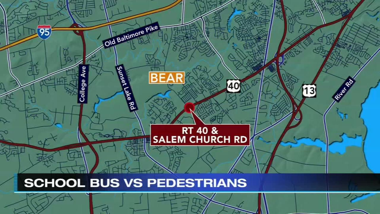 School bus strikes 3, including 2 children in Delaware