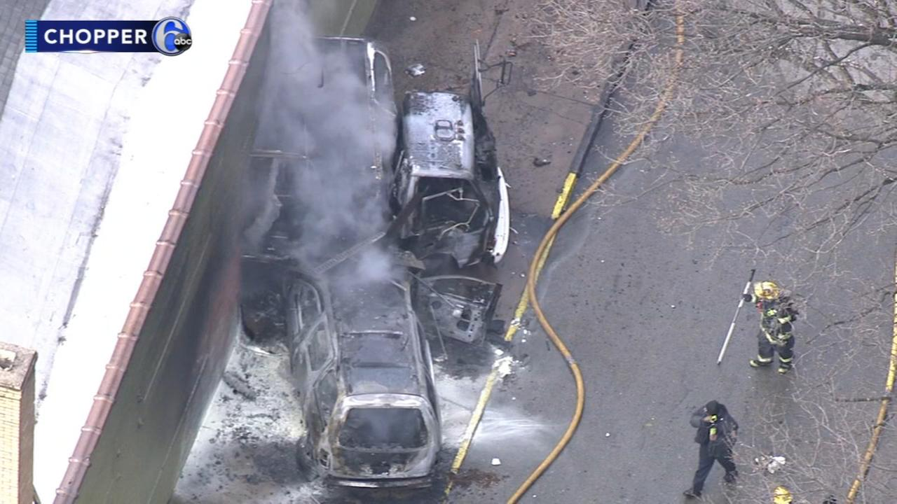 Fiery crash between truck, SUV at thrift store