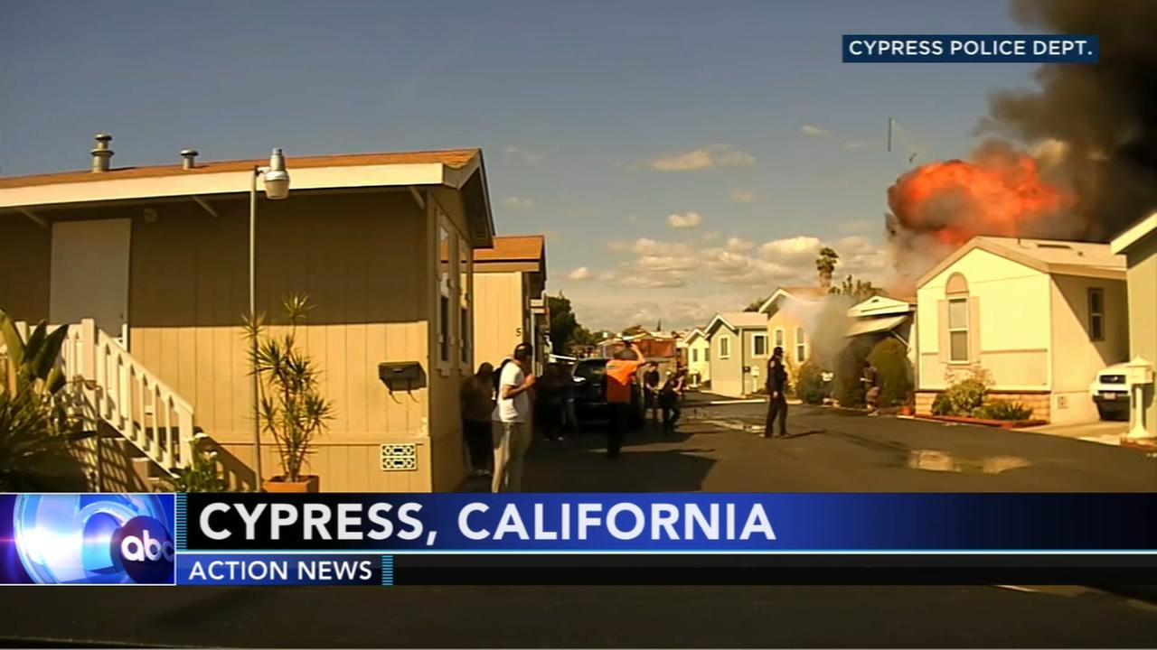 Oxygen tanks cause Southern California mobile home explosion