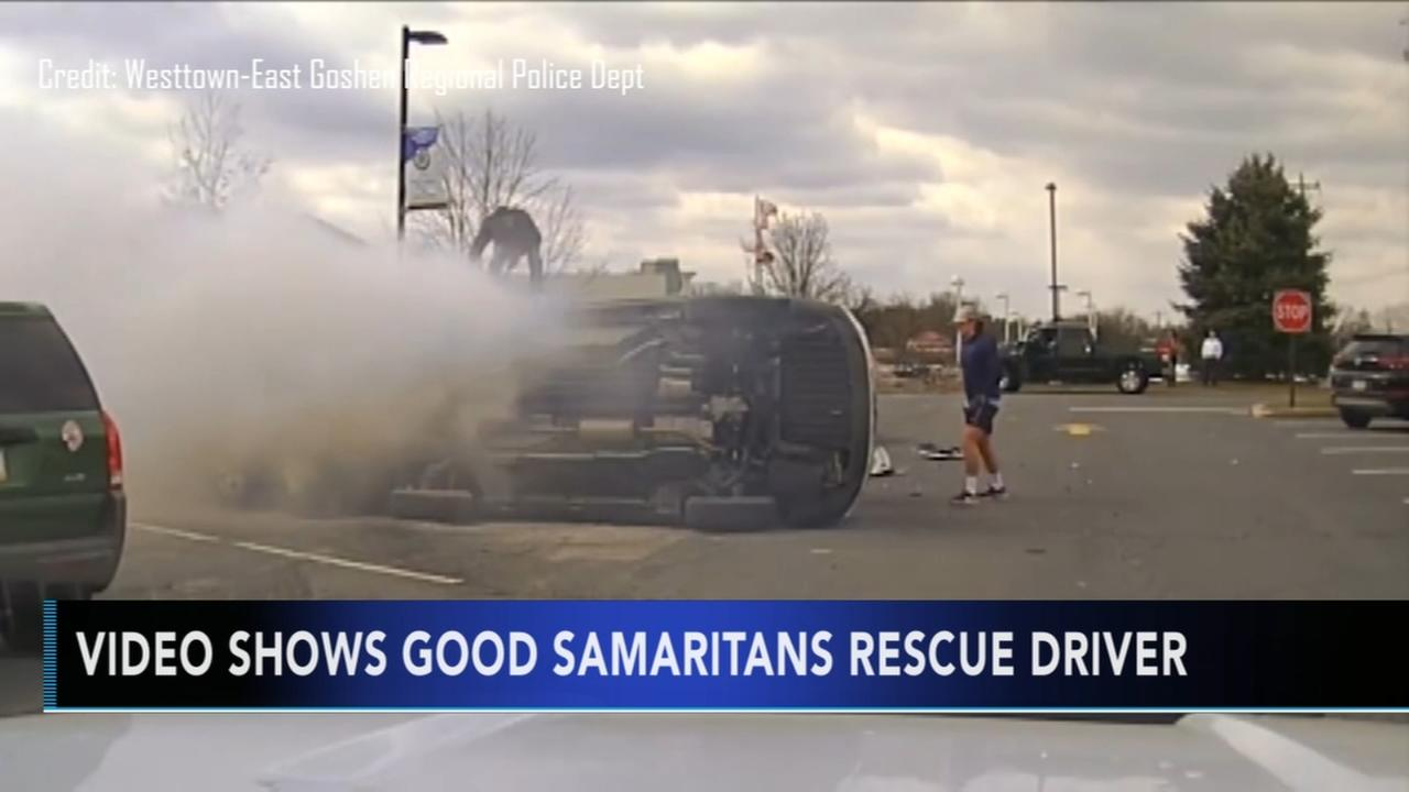 Video shows good Samaritans rescue driver